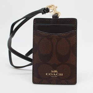 Coach dark brown signature lanyard and card holder